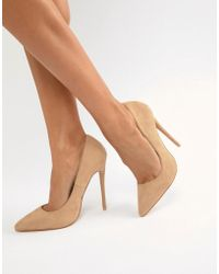 PrettyLittleThing - Faux Suede High Heeled Pumps In Camel - Lyst