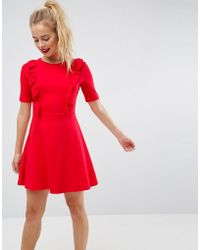 ASOS - Cotton Smock Dress With Frill Details - Lyst