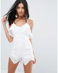 Girl In Mind | Frill Strappy Playsuit | Lyst