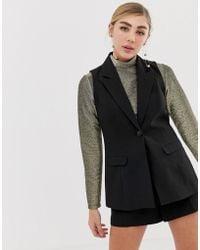 Miss Selfridge - Tailored Waistcoat In Black - Lyst