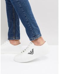 Emporio Armani - Smooth Leather Smart Trainers With Logo In White - Lyst