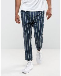 ASOS - Tapered Smart Trousers In Stripe - Lyst