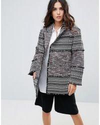 French Connection | Pixel Mix Cotton Coat | Lyst