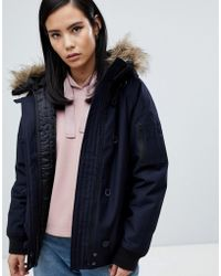 Fred Perry - Short Parka Jacket With Faux Fur Hood - Lyst