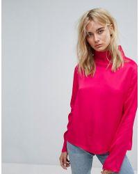 Weekday - Slinky High Neck Shirt - Lyst