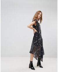 New Look - Sheer Galaxy Printed Asymmetric Hem Dress - Lyst