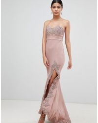 Love Triangle - Lace Trim Bandeau Maxi Dress With Thigh Split - Lyst