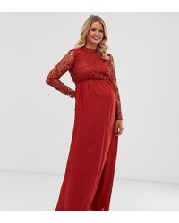 865a2248469547 Chi Chi London Bandeau Maxi Dress With Beaded Bodice in Purple - Lyst