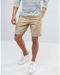 Bershka - Belted Chino Shorts In Tan - Lyst