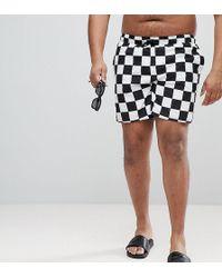 ASOS - Plus Swim Shorts In Checkerboard Print Mid Length - Lyst