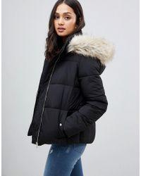 Miss Selfridge - Padded Jacket With Faux Fur Trim In Black - Lyst
