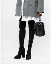 db21ae13377a ASOS - Slim Kassidy Heeled Thigh High Boots - Lyst