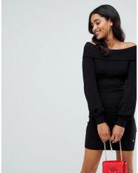 Lipsy - Bardot Sweater Dress In Black - Lyst