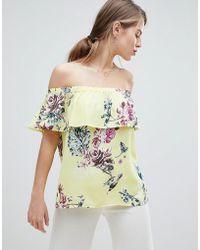 Vila - Floaty Floral Bardot Top - Lyst