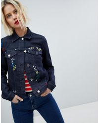 Love Moschino - Giacca di jeans ricamata - Lyst