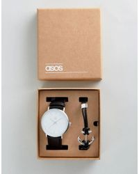 ASOS | Gift Set With Watch And Bracelet With Anchor Design | Lyst