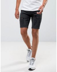 ASOS - Short en jean skinny style motard avec fermeture clair - Lyst