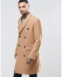 ASOS - Wool Mix Double Breasted Overcoat In Camel - Lyst