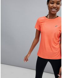 Asics - Running Short Sleeve Tee In Coral - Lyst