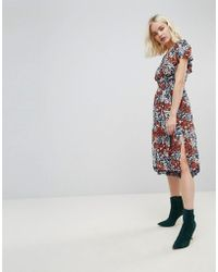 Hazel - Floral Printed Off Shoulder Midi Dress - Lyst