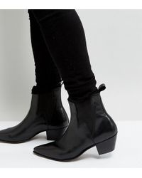 ASOS - Wide Fit Cuban Heel Western Boots In Black Leather With Lightening Detail - Lyst