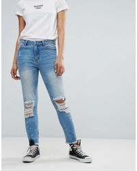 Daisy Street - Mom Jeans With Distressing And Paint Splash - Lyst