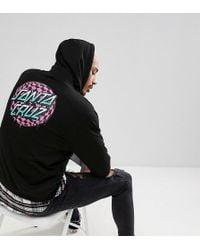 Santa Cruz - Hoodie With Check Waist Dot Back Print In Black Exclusive To Asos - Lyst