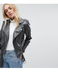 ASOS | Leather Look Washed Biker Jacket | Lyst