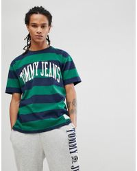 Hilfiger Denim - Tommy Jeans Collegiate Capsule Stripe T-shirt In Green - Lyst