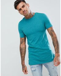 a386301a2452 ASOS - Longline Muscle Fit T-shirt With Bound Curved Hem - Lyst