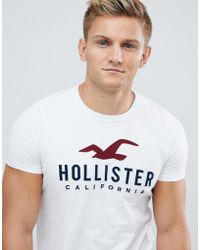 Hollister - Muscle Fit T-shirt Tech Logo In White - Lyst