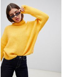 Weekday - Roll Neck Jumper In Yellow - Lyst