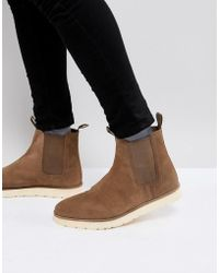 Stradivarius - Suede Boot With Contrast Chunky Sole In Tan - Lyst