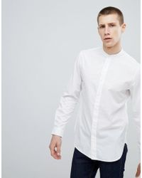 Stradivarius - Slim Fit Shirt With Grandad Collar In White - Lyst