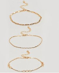 ASOS - Asos Design Curve Bracelet Pack Of 3 With Cut Link And Twist Chain Detail In Gold - Lyst