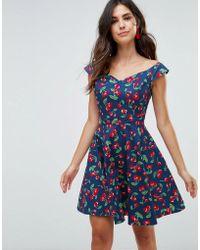 Hell Bunny - Cherry Print Mini Skater Dress - Lyst