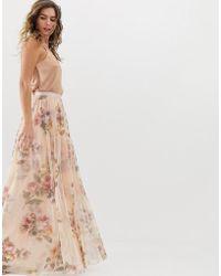 Needle & Thread - Gonna lunga a fiori color quarzo rosa - Lyst