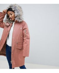 ASOS - Asos Design Petite Parka With Detachable Faux Fur Liner - Lyst