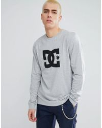 DC Shoes - Long Sleeve T-shirt With Star Logo In Grey - Lyst