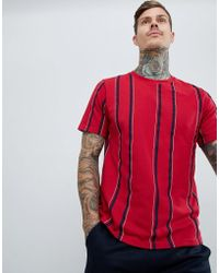 Pull&Bear - T-shirt With Vertical Stripes In Burgundy - Lyst