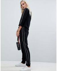 Pieces - Tapered Trousers With Contrast Tipping - Lyst