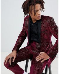 ASOS - Super Skinny Tuxedo Suit Jacket In Allover Burgundy Sequin - Lyst