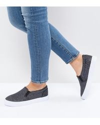 ASOS DESIGN - Asos Dianna Wide Fit Slip On Plimsolls - Lyst