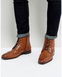 Dune - Brogue Boots In Tan - Lyst