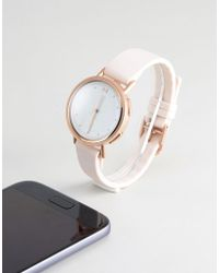 Misfit - Mis5024 Leather Hybrid Smart Watch In Nude - Lyst
