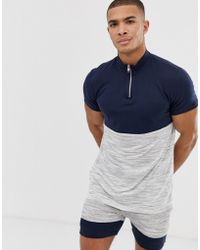 ASOS - Two-piece T-shirt With Zip Neck And Interest Fabric Color Block In Navy - Lyst