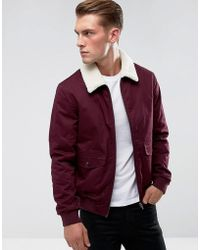 French Connection - Checked Lined Harrington Jacket With Borg Collar - Lyst