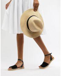 South Beach - Black Ankle Strap Espadrilles - Lyst