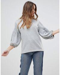 Monki | Padded Sleeve Sweatshirt | Lyst