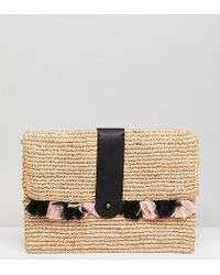 Maison Scotch - Exclusive Wicker Clutch With Tassles - Lyst